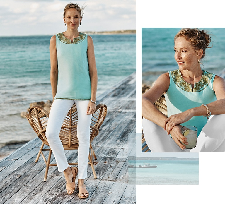 Shop our heirloom embroidered tank, Authentic Fit slim-leg jeans and coin & stone stretch bracelet