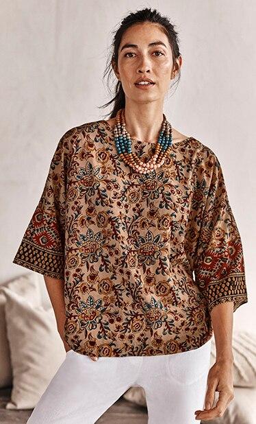 Shop our Pure Jill Kalamkari kimono top