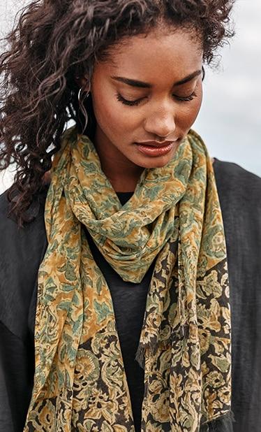 Shop our Pure Jill fringed Kalamkari scarf