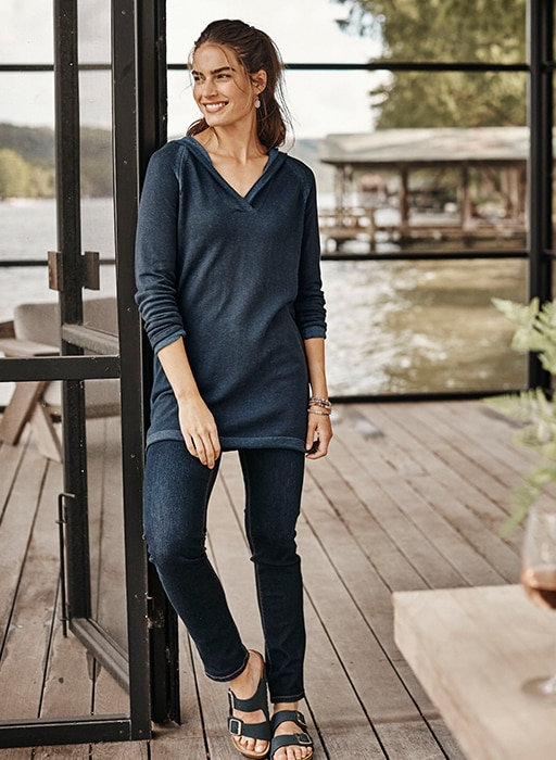 Shop this look - high-rise straight-leg jeans, plaited hooded sweater tunic, blue hour bracelet and Birkenstock® Arizona Soft Footbed Sandals