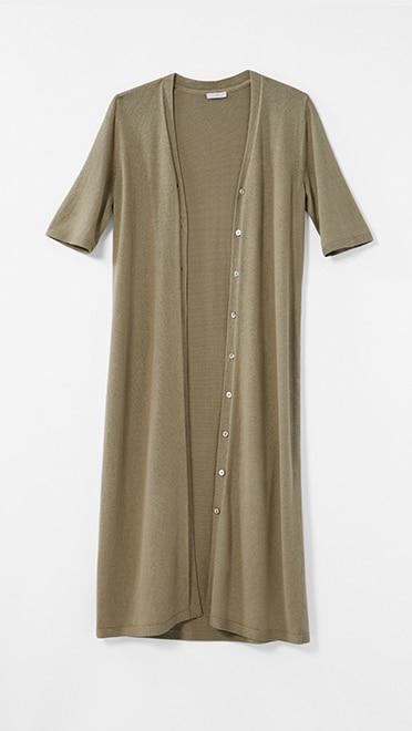 Shop our Long Linen-Blend Elbow-Sleeve Cardi