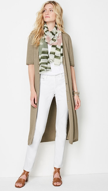 Shop this look—long linen-blend elbow-sleeve cardi, shadow-stripe scarf, Madelyn block-heel sandal and Authentic Fit slim-leg jeans