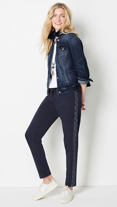 Shop this look—garment-dyed embroidered knit pants, classic denim jacket, pima scoop-neck elbow-sleeve tee and Tretorn® nyliteplus sneakers