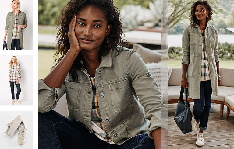 Shop our Tahoe long denim jacket, brushed soft boat-neck top, the boyfriend jeans and Seychelles® renew sneakers