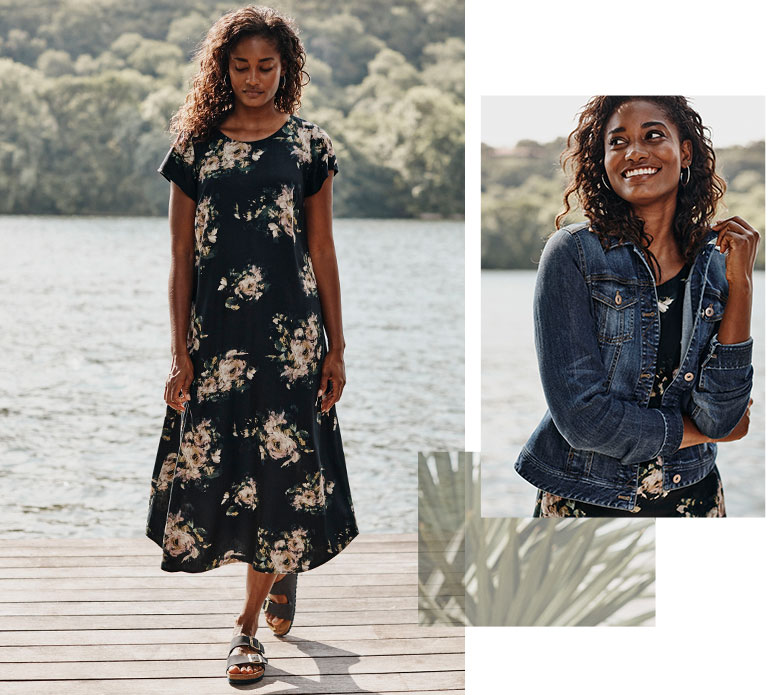 Shop our button-back shirttail midi dress, classic denim jacket, sterling silver hoops and Birkenstock® Arizona soft footbed sandals