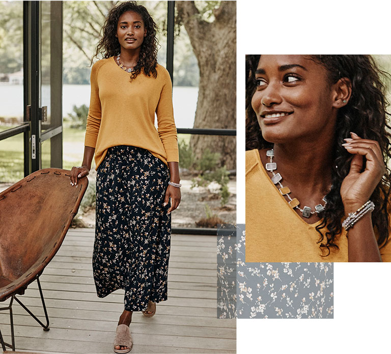 Shop our ultra-luxe silk-blend V-neck sweater, smocked-waist knit maxi skirt, golden-hour short necklace and Sofft® Netta flats