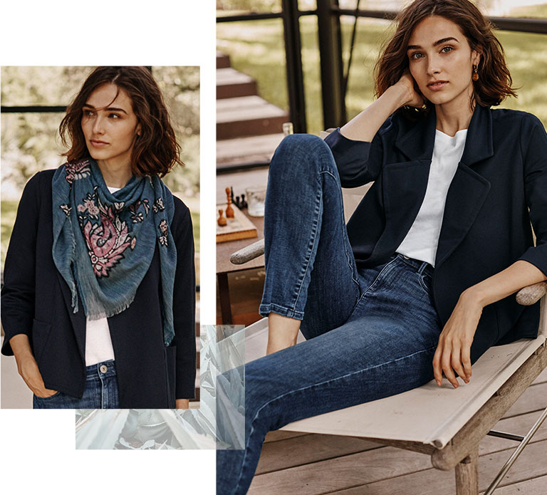 Shop our twill knit A-line jacket, pima crew-neck long-sleeve tee, Authentic Fit slim-leg jeans and paisley jacquard scarf