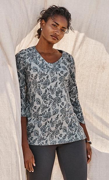 Shop our Kalamkari-print knit top