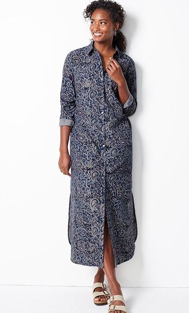 Shop our Pure Jill Kalamkari maxi shirtdress