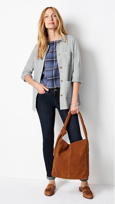 Shop this look—garment-dyed knit utility jacket, brushed soft boat-neck top, the boyfriend jeans, soft everyday handbag and Charlotte tasseled mules