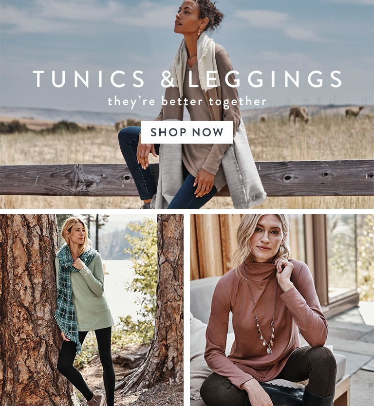 Shop our tunics and leggings