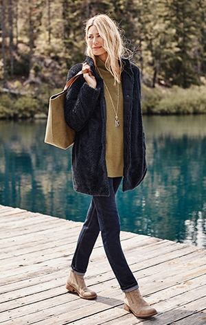 shop our Reversible Down & Sherpa Puffer Coat