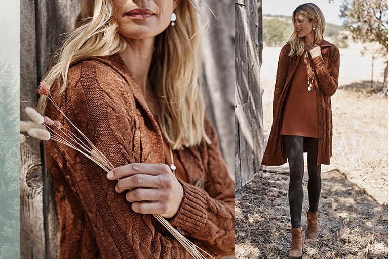 Shop our cozy cabled button-front cardi, Simply Supima® V-neck tunic, smoothing-ponte leggings and Locklyn ankle boots