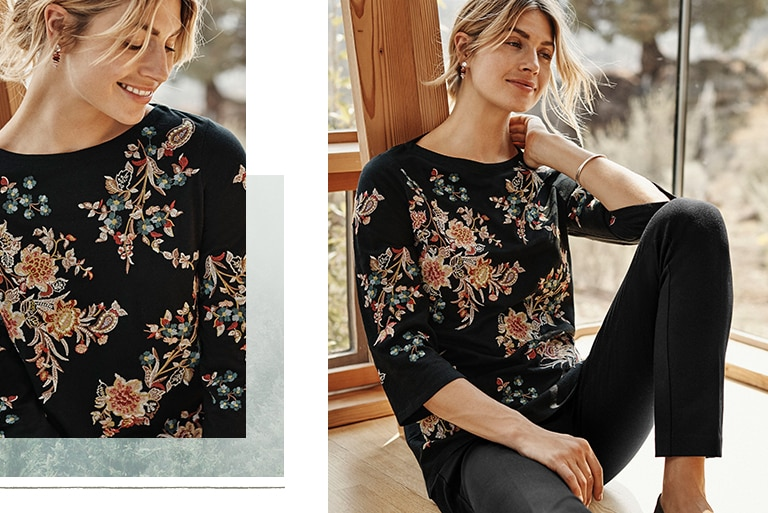 Shop our valley flowers embroidered knit top, essential ponte slim-leg pants, highland horizon stacked drop earrings and Adelaide loafers