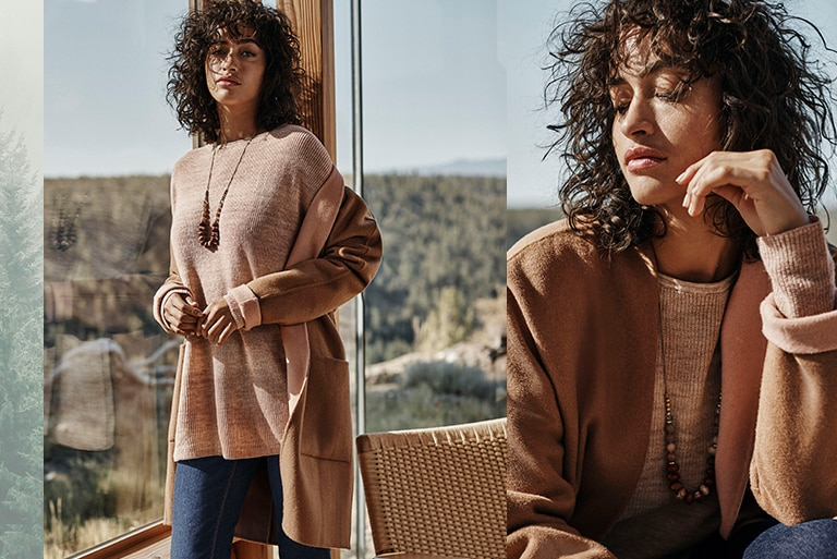 Shop our shire reversible double-faced coat, relaxed ombré sweater, high-rise straight-leg jeans and highland horizon beaded necklace
