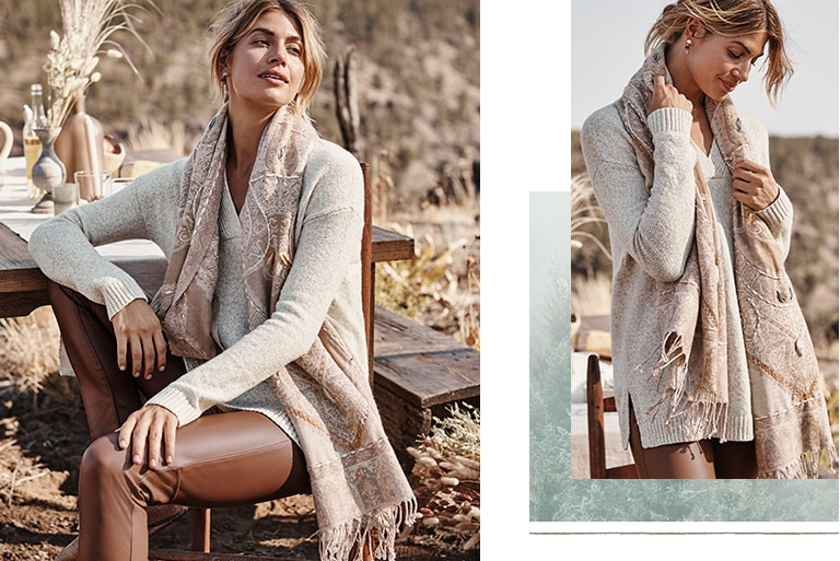 Shop our relaxed marled V-neck sweater, vegan-leather pull-on pants, Compassion Fund embroidered jacquard scarf and Adelaide loafers