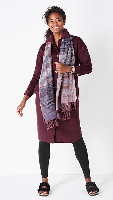 Shop this look—Pure Jill lustrous long shacket, pima ankle leggings, Pure Jill beaded jacquard scarf and Birkenstock® Arizona shearling sandals