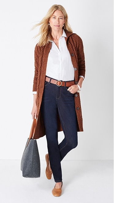 Shop this look—cozy cabled button-front cardi, classic white shirt, high-rise straight-leg jeans, and winter's day tote