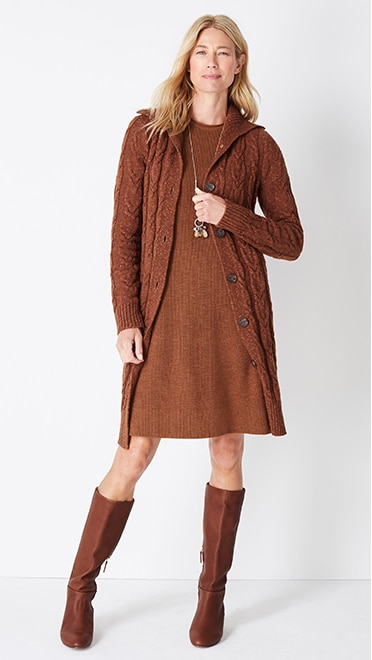 Shop this look—cozy cabled button-front cardi, textured sweater dress, autumn accents pendant, and Ainsley leather tall boots