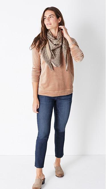 Shop this look—everyday plush velour top, Authentic Fit slim-leg jeans, ombré leopard jacquard triangle scarf and Elsie clogs