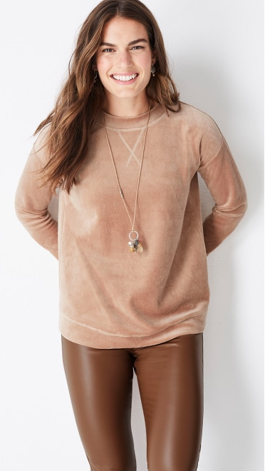 Shop this look—everyday plush velour top, vegan-leather pull-on pants, autumn accents pendant and hammered mixed-metal drop earrings