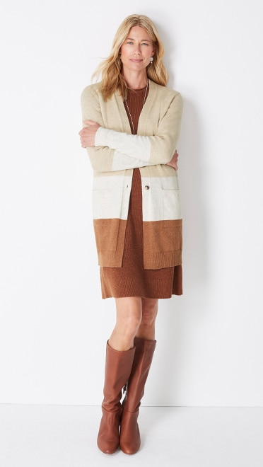 Shop this look—color-block button-front cardi, textured sweater dress, hammered mixed-metal drop earrings and Ainsley leather tall boots