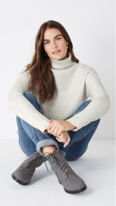 Shop this look—Naomi lace-up boots, moorland funnel-neck sweater, the boyfriend jeans and autumn accents earrings