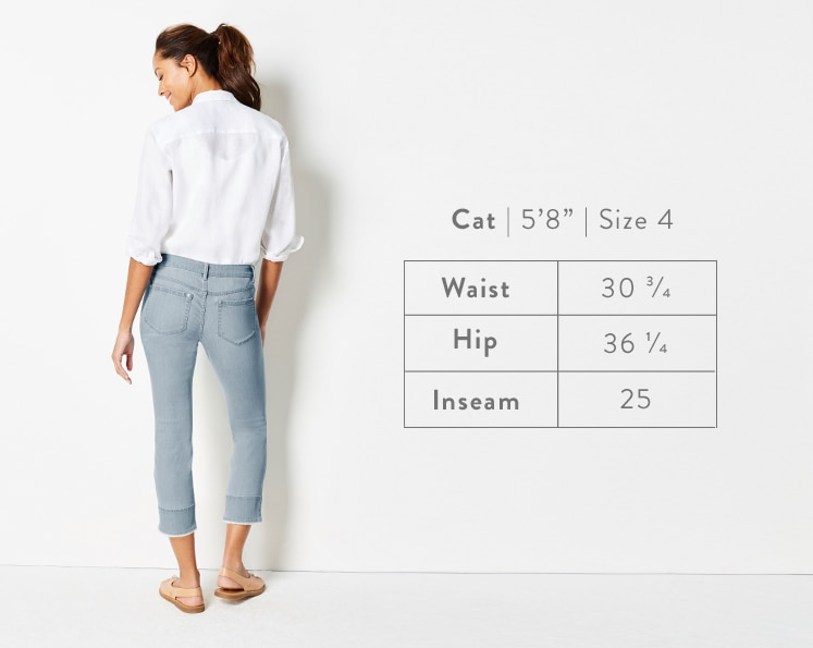 A rear-facing photo of Cat modeling Authentic Fit Fringed-Hem Cropped Jeans. Cat is 5 feet 8 inches tall, and a size 4. Waist: 30 3/4 inches, Hip: 36 1/4 inches, Inseam: 25 inches. Waist: 30 3/4 inches, Hip: 36 1/4 inches, Inseam: 25 inches.