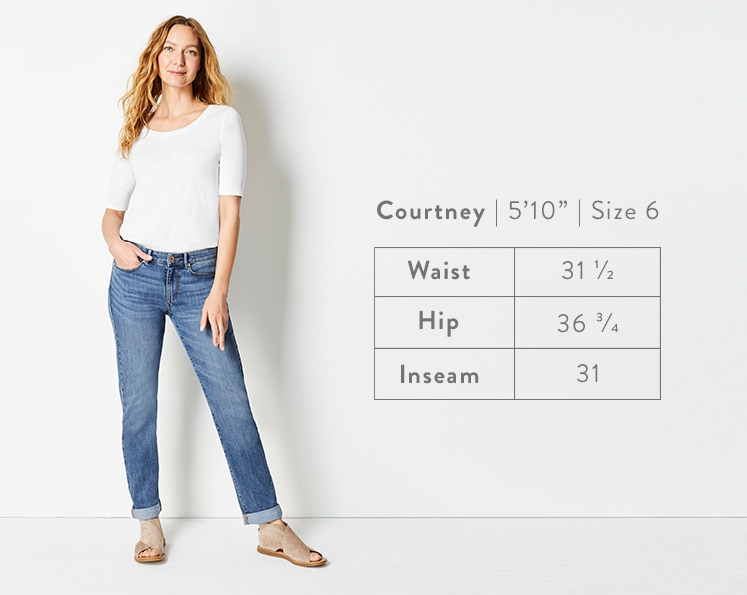 A front-facing photo of Courtney modeling Boyfriend Jeans. Courtney is 5 feet 10 inches tall, and a size 6. Waist: 31 1/2 inches, Hip: 36 3/4 inches, Inseam: 31 inches.