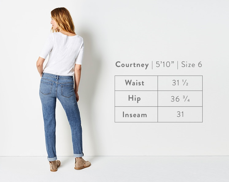 A rear-facing photo of Courtney modeling Boyfriend Jeans. Courtney is 5 feet 10 inches tall, and a size 6. Waist: 31 1/2 inches, Hip: 36 3/4 inches, Inseam: 31 inches.