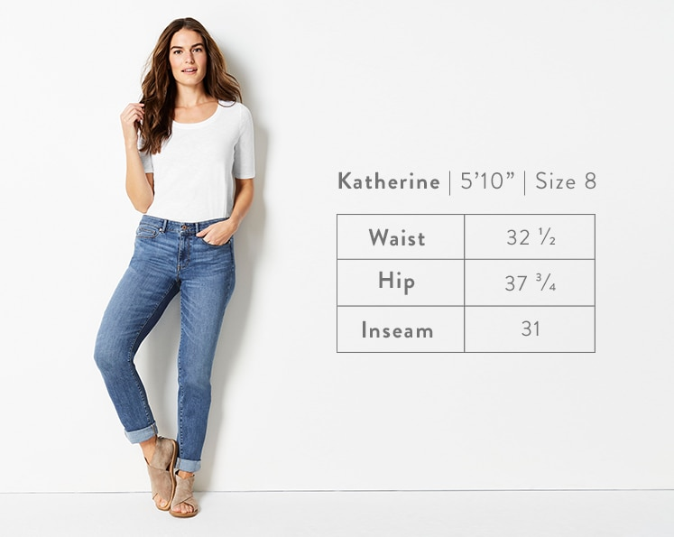 A front-facing photo of Katherine modeling Boyfriend Jeans. Katherine is 5 feet 10 inches tall, and a size 8. Waist: 32 1/2 inches, Hip: 37 3/4 inches, Inseam: 31 inches.