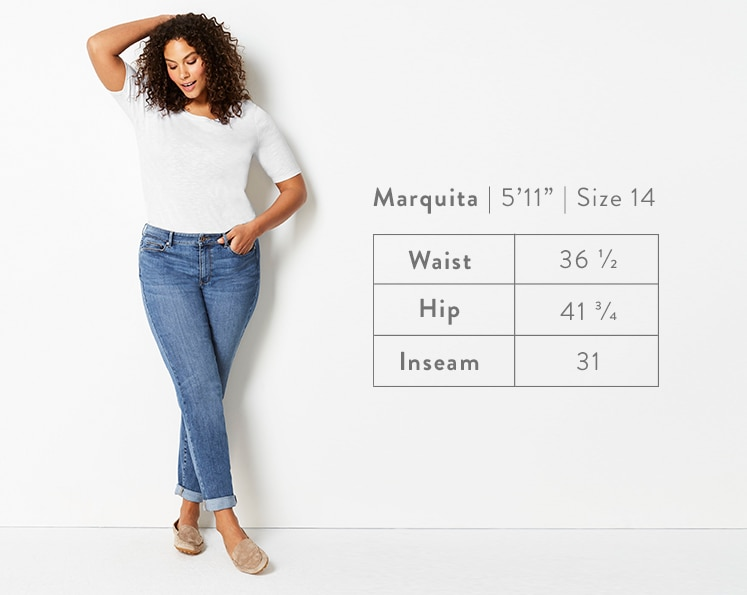 A front-facing photo of Marquita modeling Boyfriend Jeans. Marquita is 5 feet 11 inches tall, and a size 14. Waist: 36 1/2 inches, Hip: 41 3/4 inches, Inseam: 31 inches.