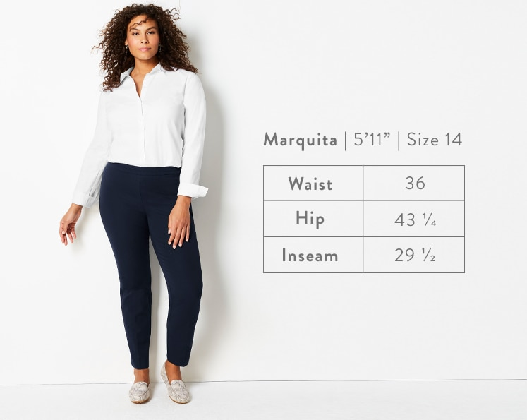 A front-facing photo of Marquita modeling Precision-Stretch Slim-Leg Pants. Marquita is 5 feet 11 inches tall, and a size 14. Waist: 36 inches, Hip: 43 1/4 inches, Inseam: 29 1/2 inches.