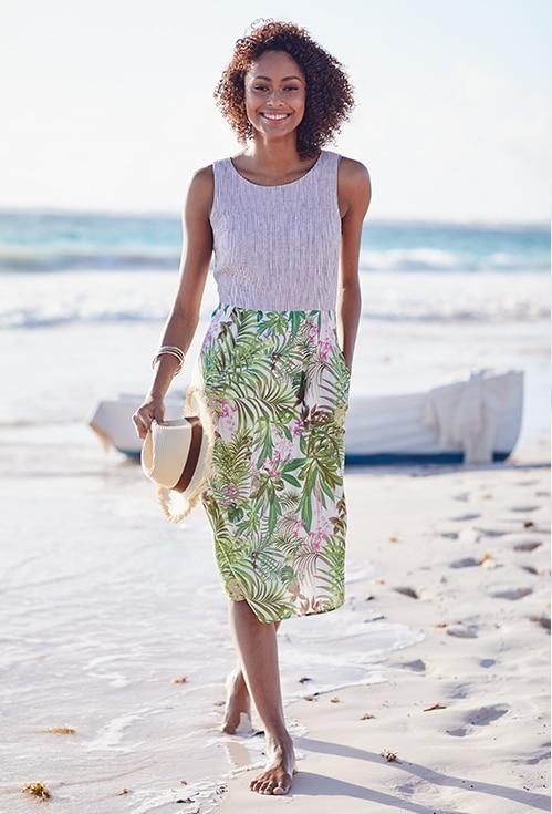 Stripes & Palms Sleeveless Dress