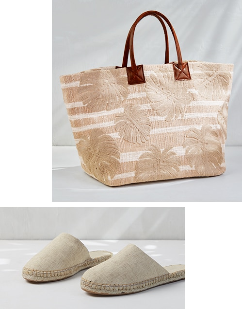 Embroidered Palms Bag
