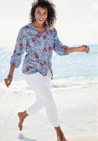 Woman wearing Floral V-Neck Blouse
