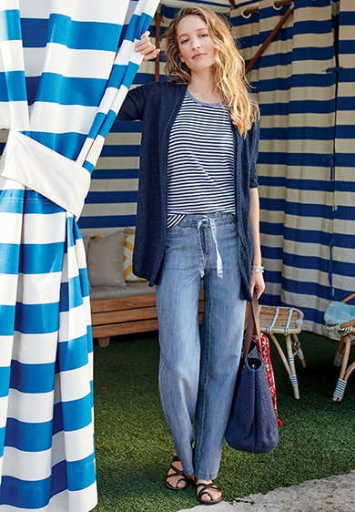 key looks images for July woman standing infront of cabana Linen & Cotton Open-Front Cardi