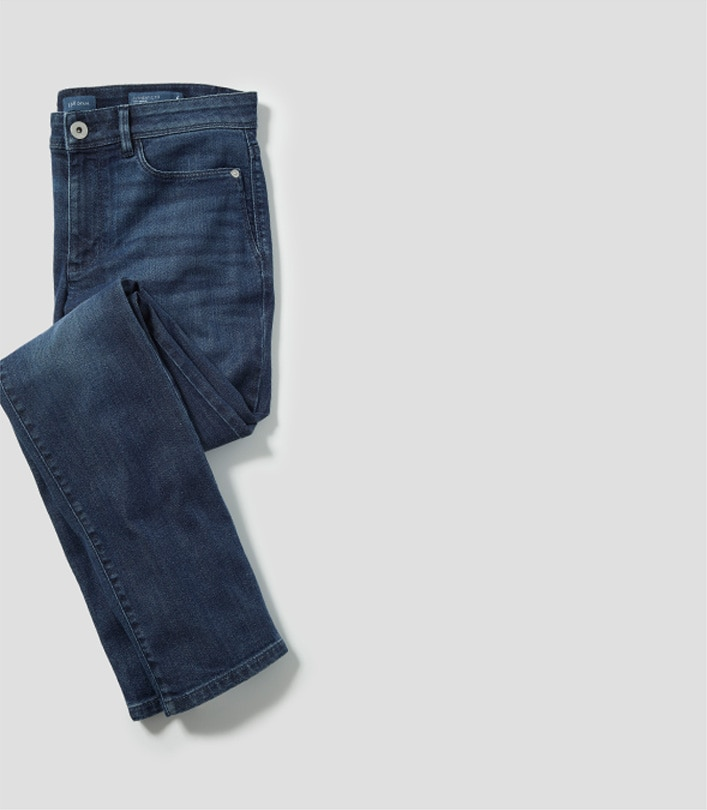 Authentic Fit Slim-Leg Jeans laid with a fold in the middle