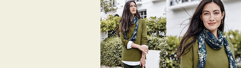 woman wearing blues and green together