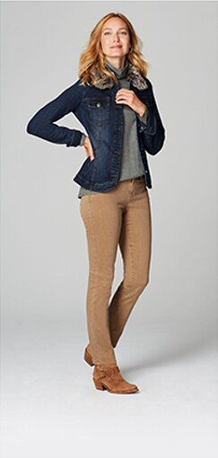 Smiling woman in Authentic Fit Slim Leg Jeans