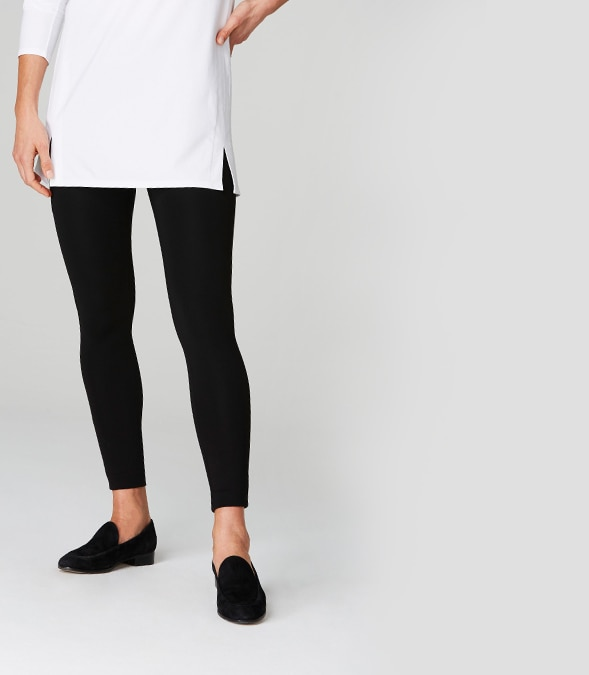 Ponte Leggings on a model with one foot forward