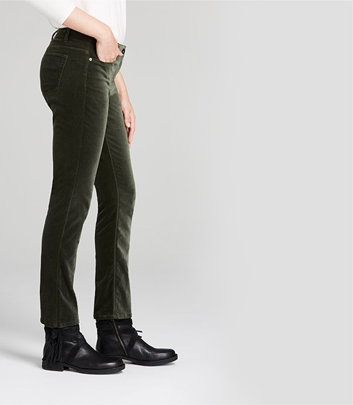 Authentic Fit Velveteen Jeans on a model from the side