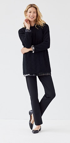 Ways to wear outfit - Red sweater with jeans and a plaid skirt