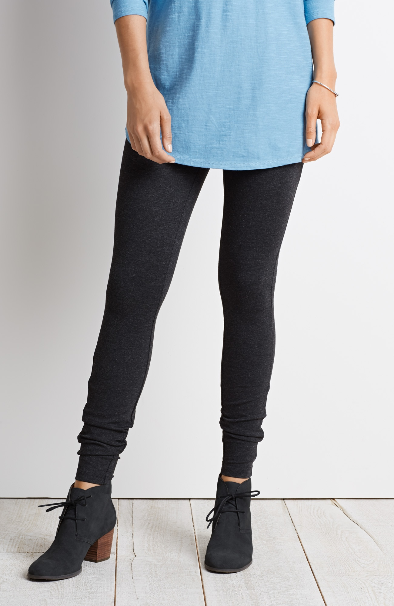 ponte knit zip-pocket leggings