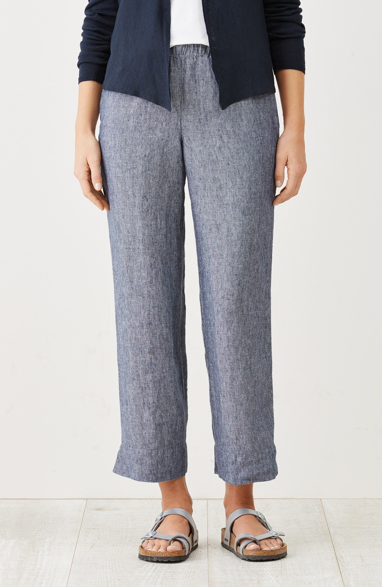 easy linen yarn-dyed cropped pants