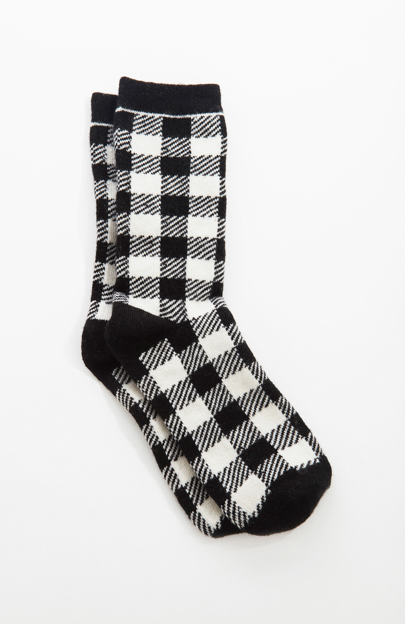 luxury-blend buffalo plaid crew socks