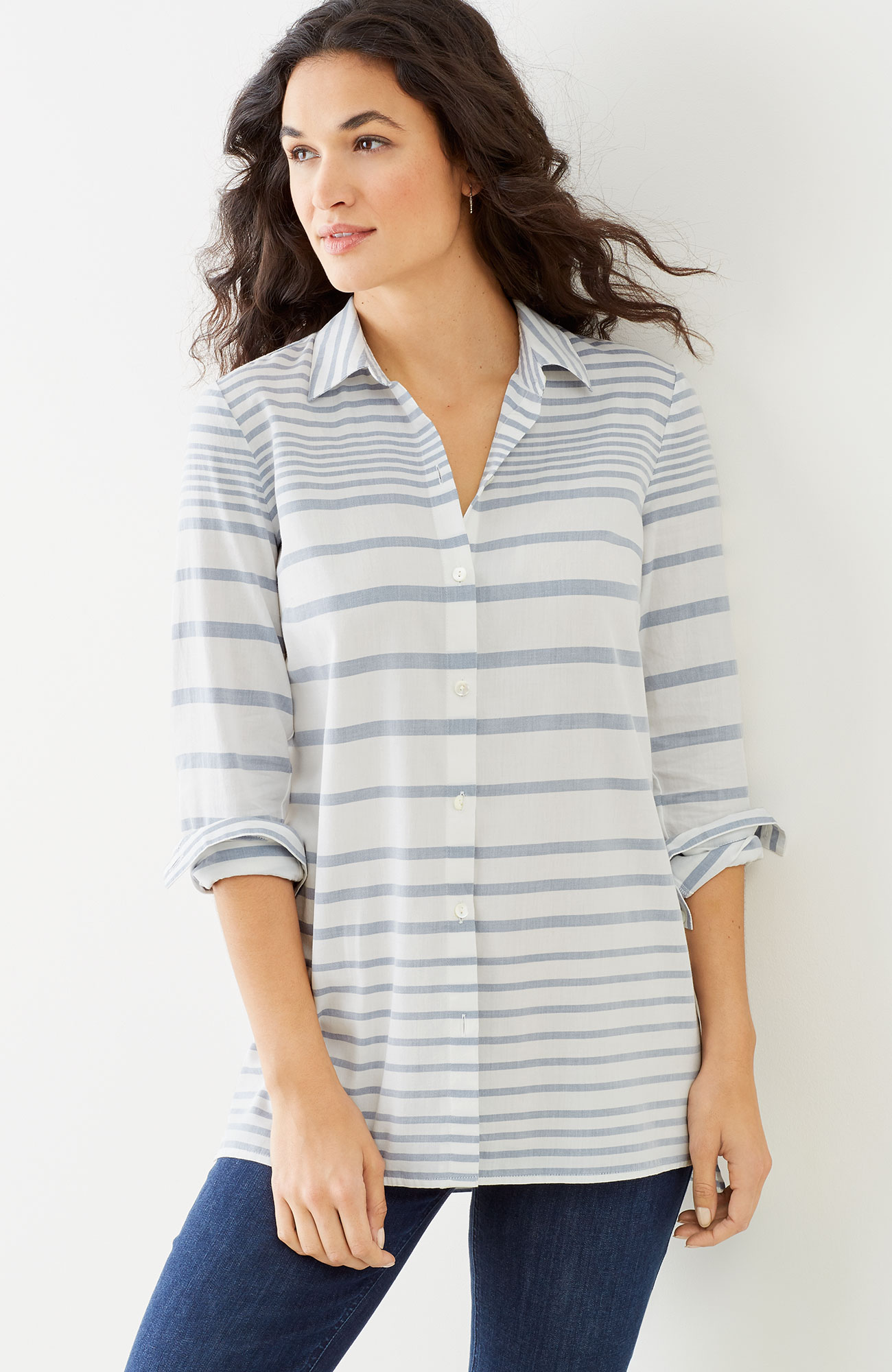 mixed-stripes button-front tunic