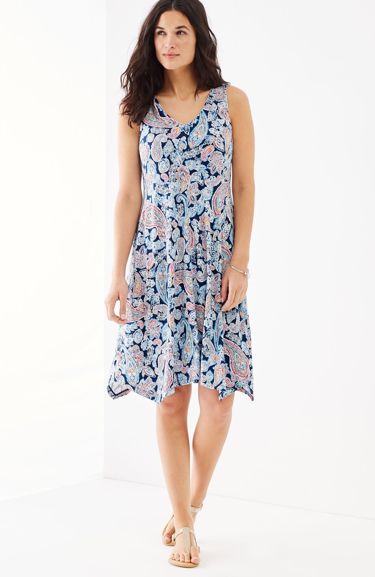 dipped-hem printed knit dress