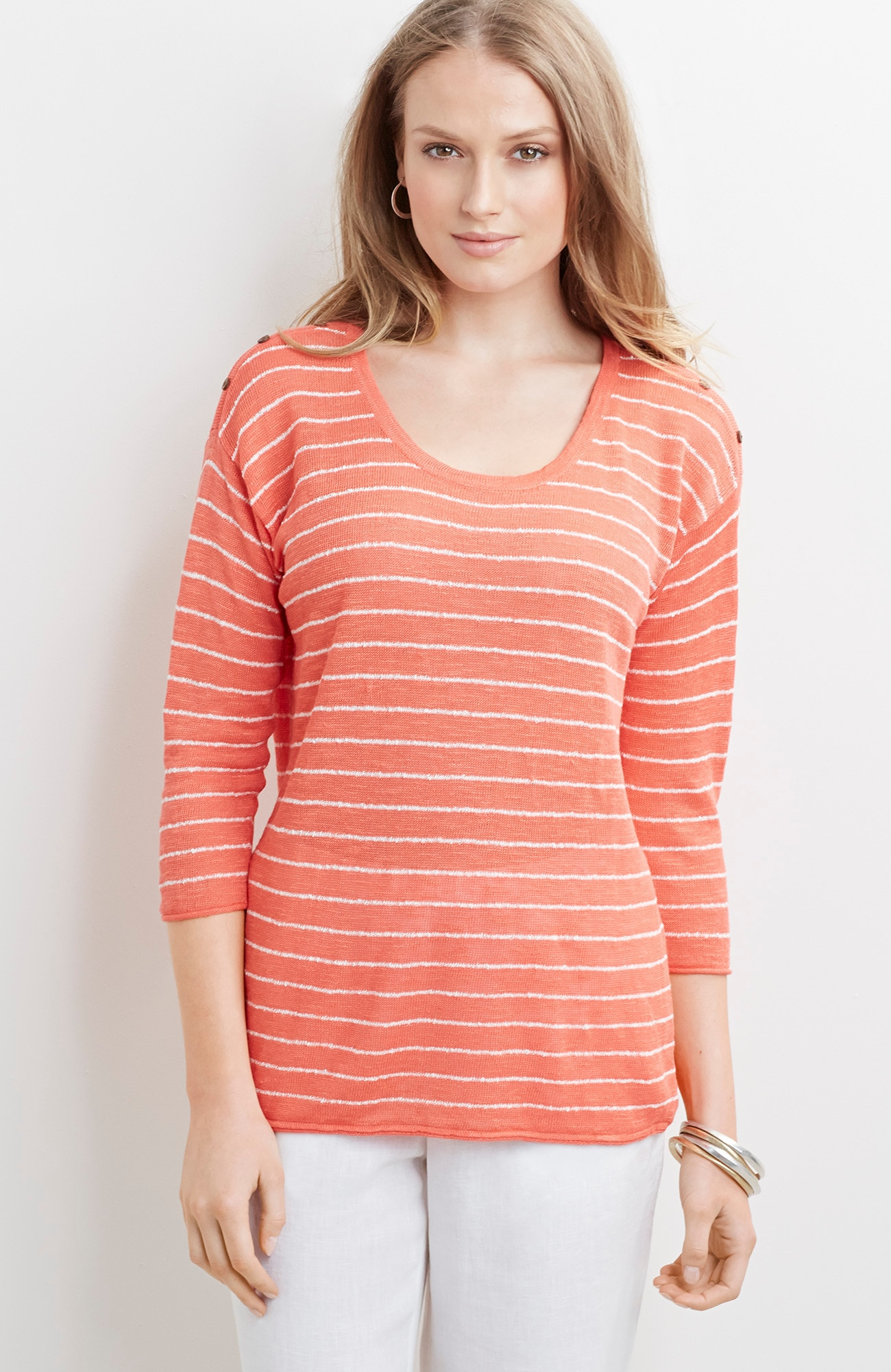 lightweight striped easy pullover