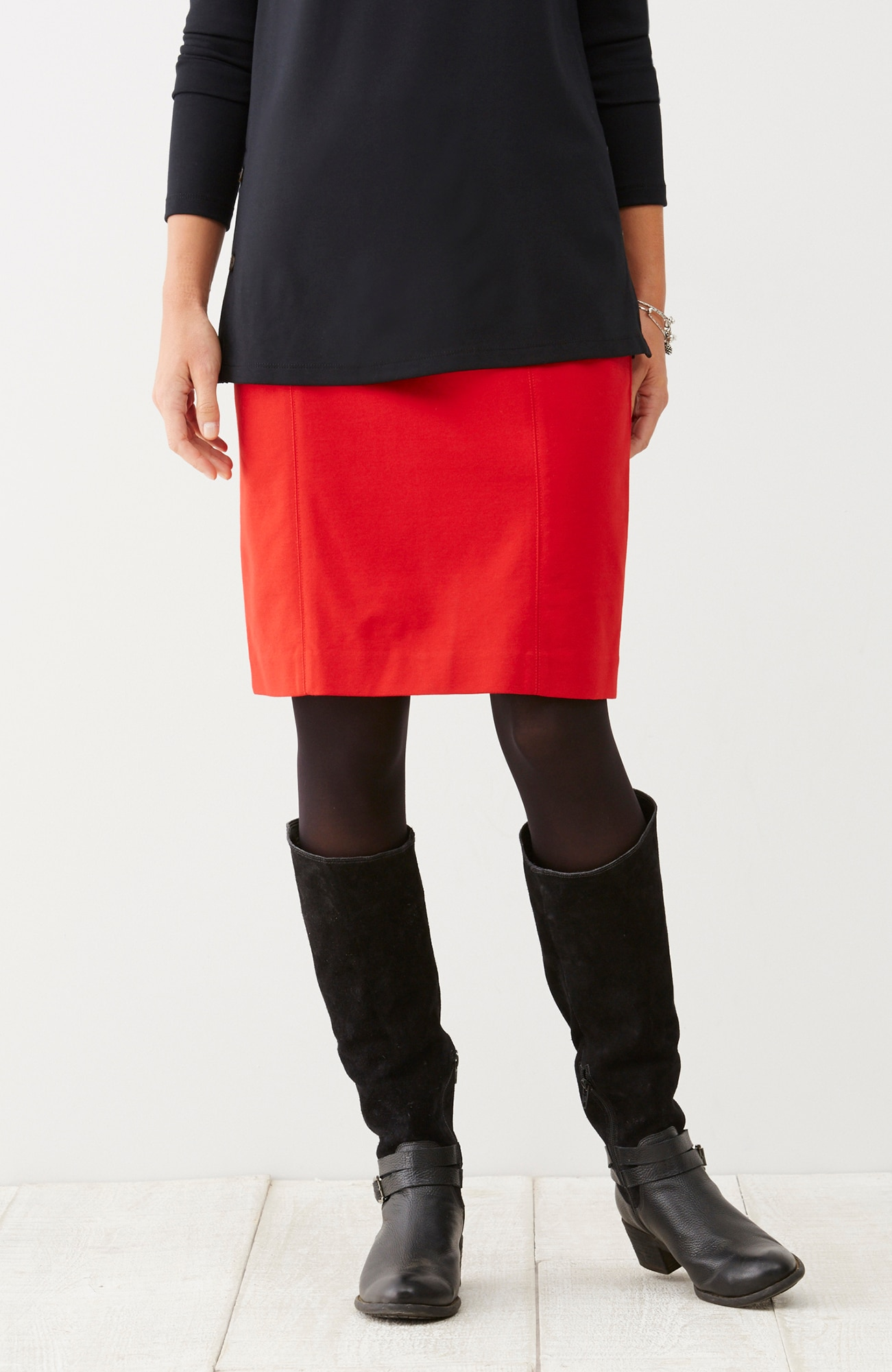 ponte knit seamed pencil skirt